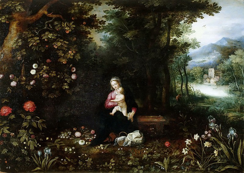 Wood landscape with rest on the flight to Egypt. Jan Brueghel The Elder