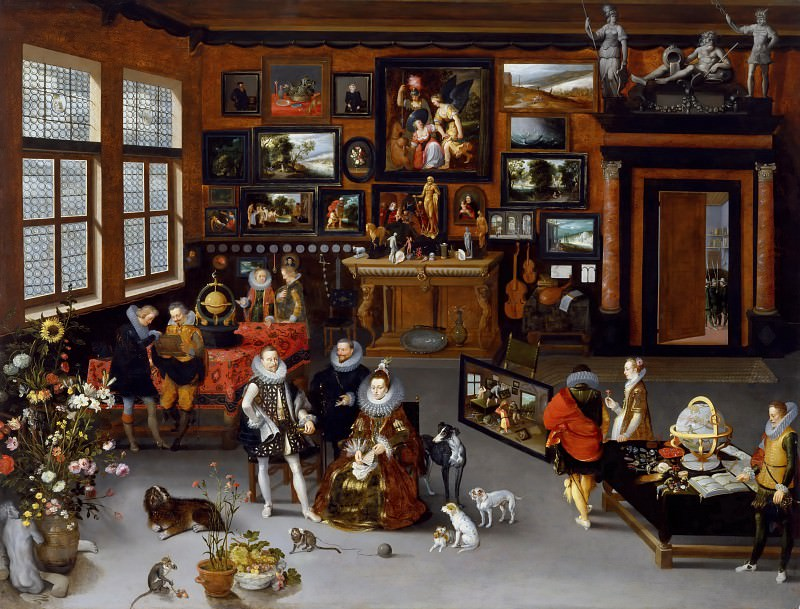 The Archdukes Albert and Isabella Visiting a Collectors Cabinet. Jan Brueghel The Elder