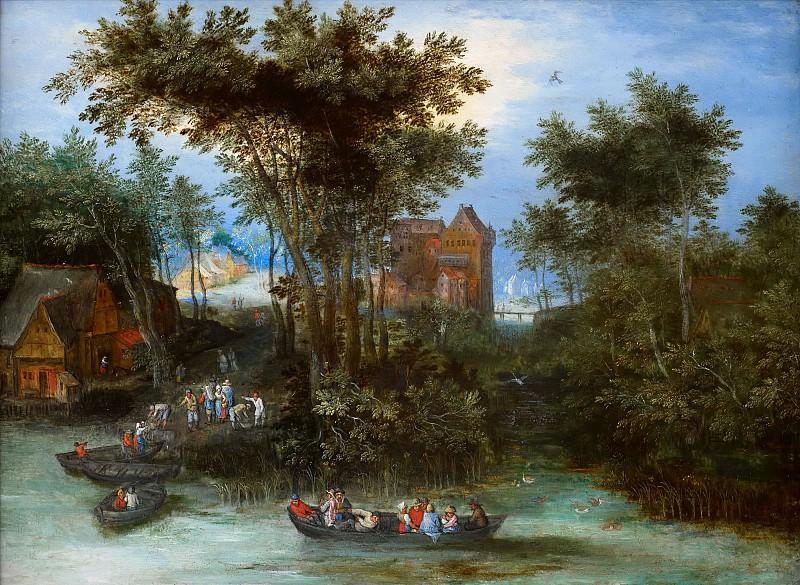 River village with landing stage. Jan Brueghel The Elder