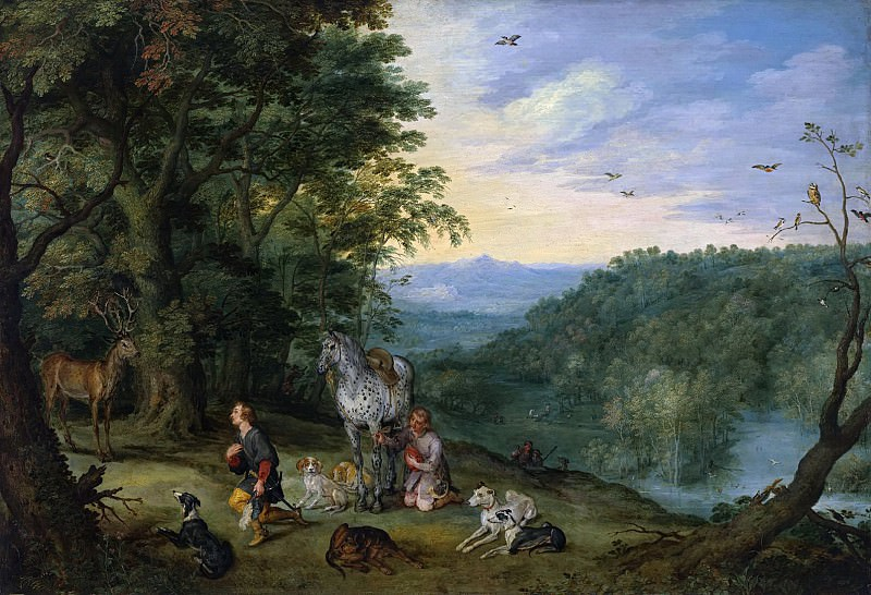 Wooded Landscape with St. Hubertus. Jan Brueghel The Elder