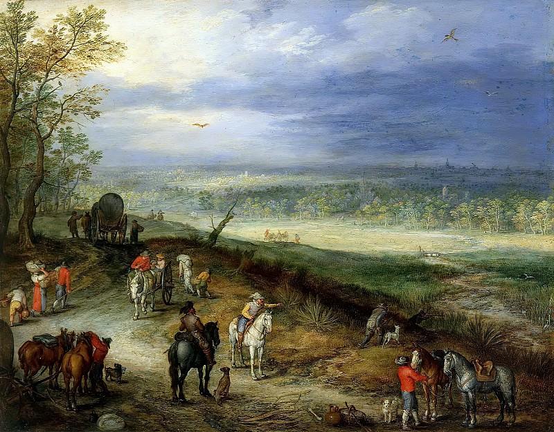 Landscape With Travellers. Jan Brueghel The Elder