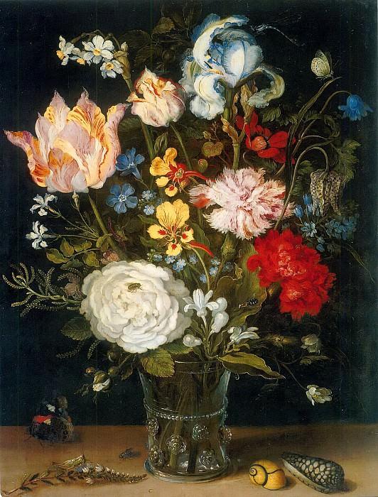 Flower Vase with Mussels and Butterflies. Jan Brueghel The Elder