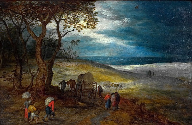 The hilly landscape with travelers and carts. Jan Brueghel The Elder
