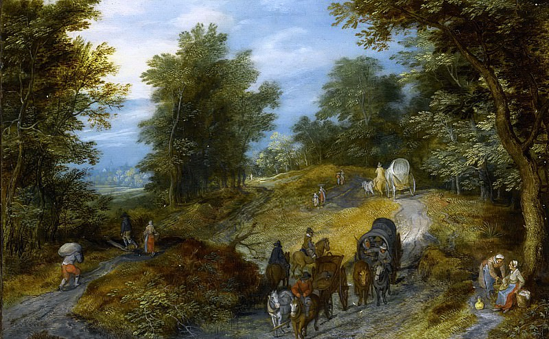 WOODLAND ROAD WITH WAGON AND TRAVELERS. Jan Brueghel The Elder