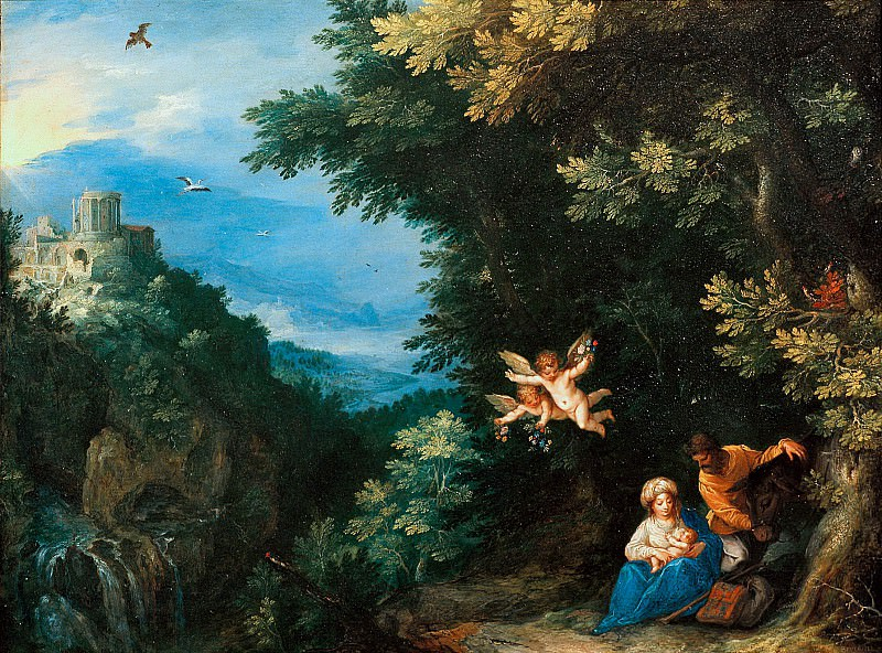 The Rest on the Flight into Egypt with the Tivoli Temple. Jan Brueghel The Elder