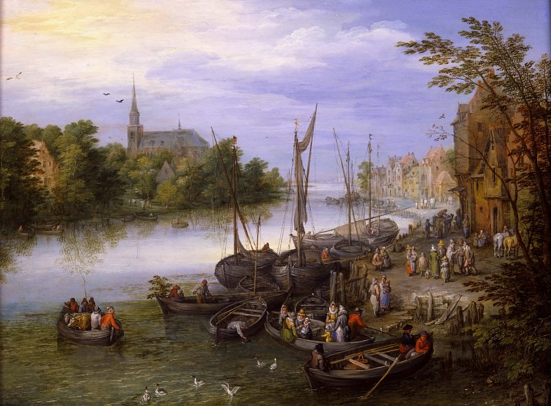 Riverside Village with Landing Stage. Jan Brueghel The Elder