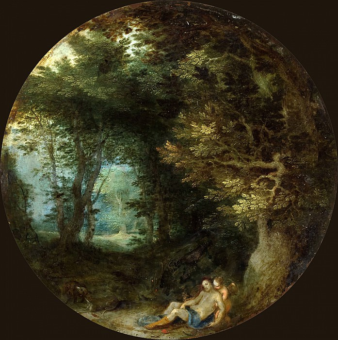 A WOODED LANDSCAPE WITH THE DEATH OF ADONIS. Jan Brueghel The Elder