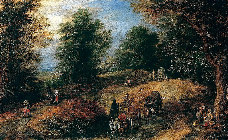 Landscape with Travelers on a Woodland Path. Jan Brueghel The Elder