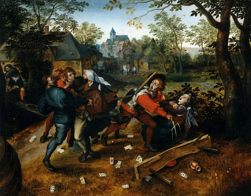 Peasants fighting about a game of cards. Jan Brueghel The Elder