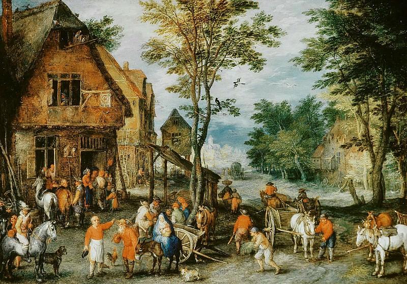 Flemish village (the flight into Egypt). Jan Brueghel The Elder