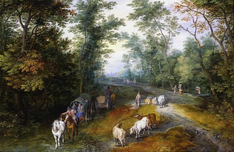 Woodland Landscape with Travelers on a Path. Jan Brueghel The Elder