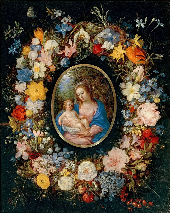 Virgin and Child in a Garland of Flowers. Jan Brueghel The Elder