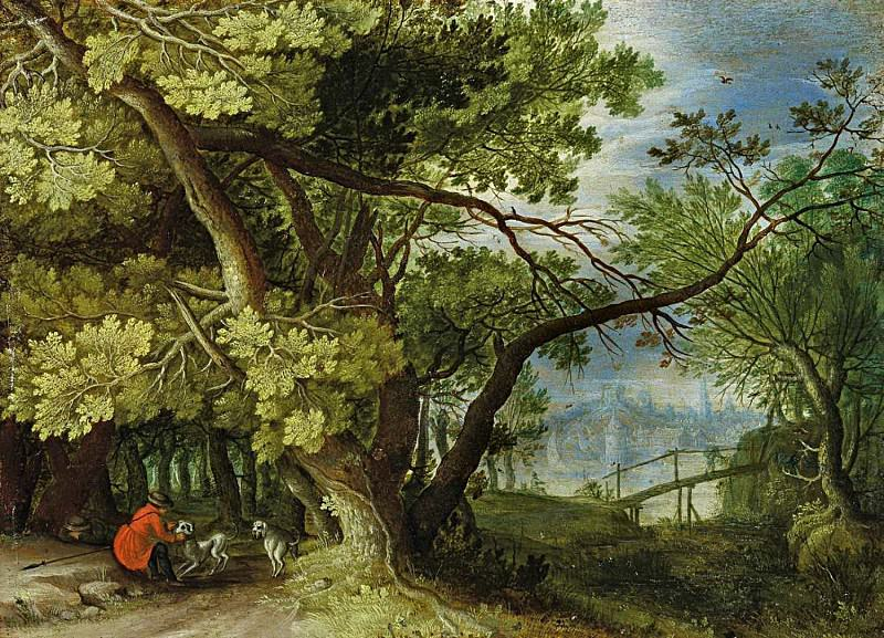 Forest landscape with hunters and dogs with views of the city across the river. Jan Brueghel The Elder