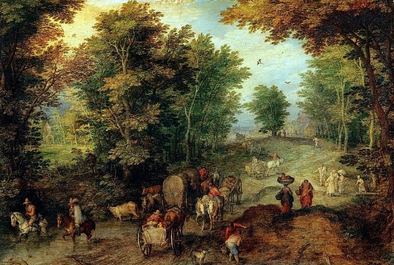 Landscape with a Ford. Jan Brueghel The Elder