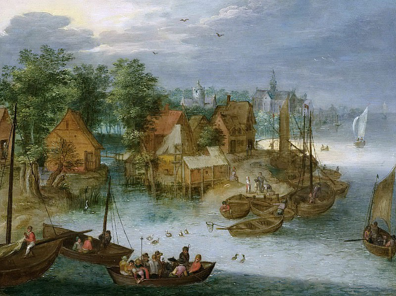 Fishing village on the water. Jan Brueghel The Elder