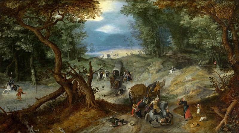 The attack on travelers. Jan Brueghel The Elder