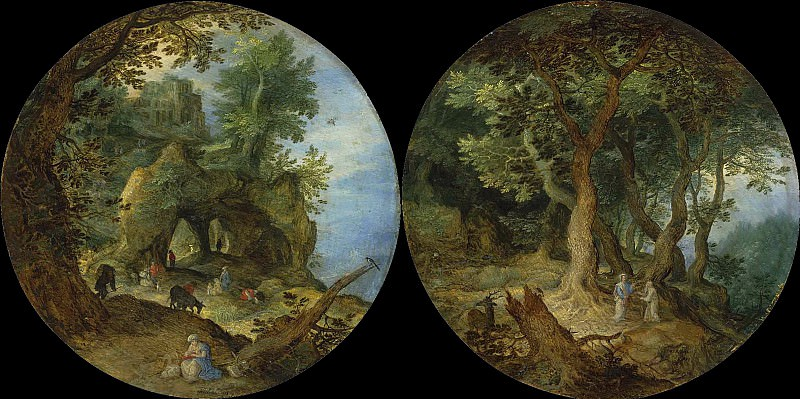 Rocky Landscape with the rest on the flight to Egypt and Forest Landscape with the Temptation of Christ. Jan Brueghel The Elder