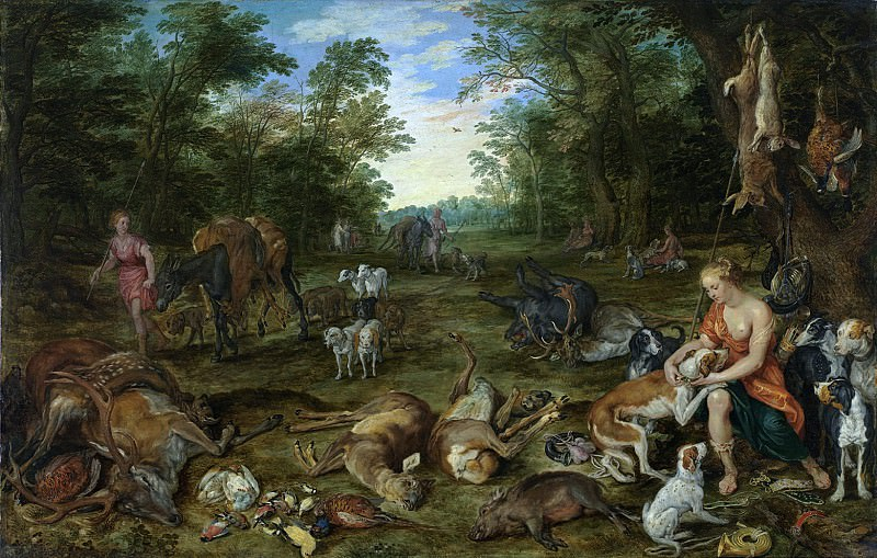 Wooded Landscape with Nymphs and hunting. Jan Brueghel The Elder