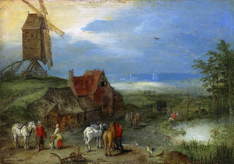 Landscape with a windmill, figures and horses by a farmstead. Jan Brueghel The Elder