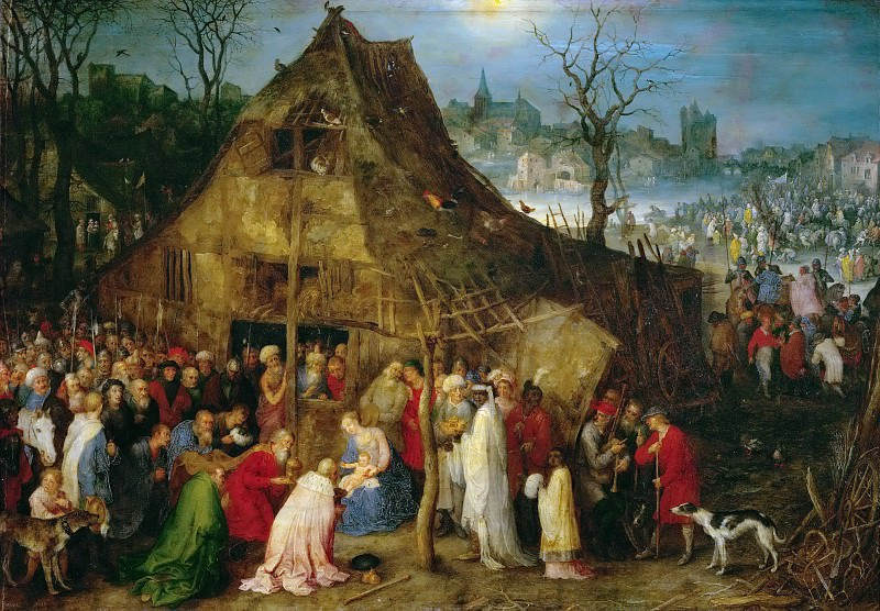 Brueghel, Jan The Elder (1568-1625) -- Поклонение волхвов. 1598. 33х48.. Kunsthistorisches Museum