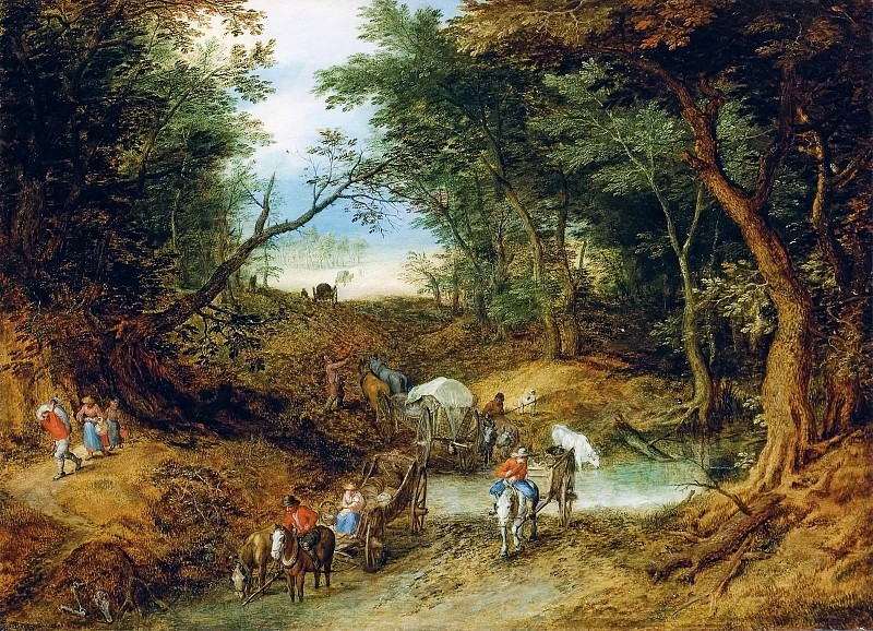 Forest Landscape with travelers and cart makers at a flooded road. Jan Brueghel The Elder