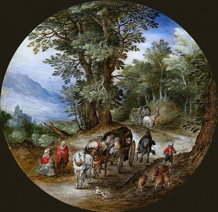 Forest road with carts and pig drover. Jan Brueghel The Elder