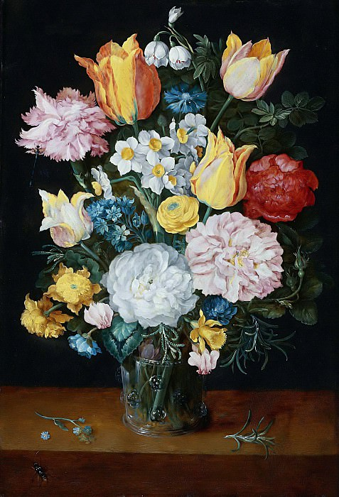 STILL LIFE OF TULIPS, ROSES, NARCISSUS, A CARNATION AND OTHER FLOWERS IN A GLASS VASE. Jan Brueghel The Elder