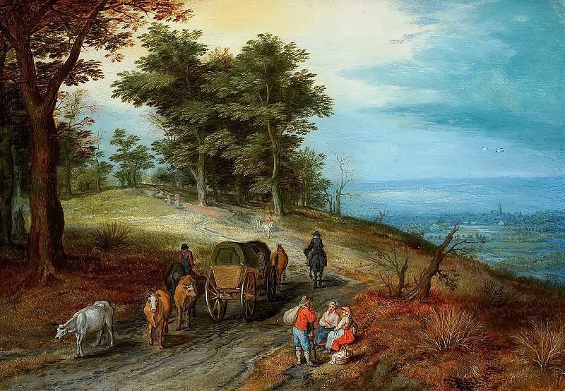 Cart and peasants on a path. Jan Brueghel The Elder