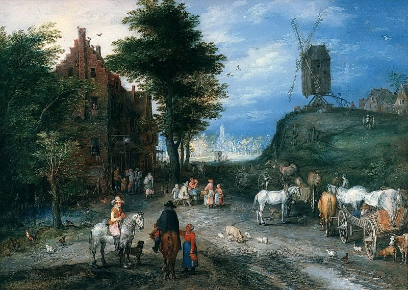 Entrance to Village with Windmill. Jan Brueghel The Elder