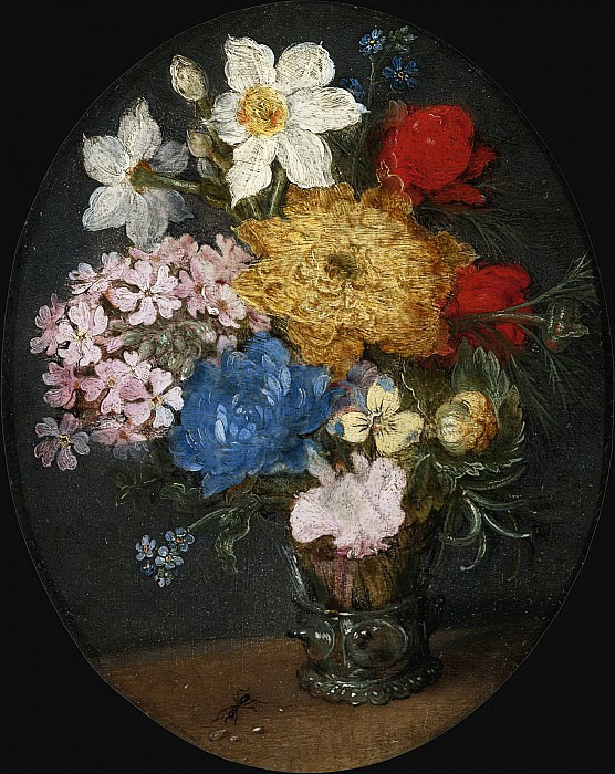 NARCISSI, CHRYSANTHEMUMS, ROSES AND OTHER FLOWERS IN A GLASS VASE. Jan Brueghel The Elder