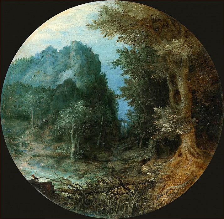Forest landscape with a castle on the cliff. Jan Brueghel The Elder