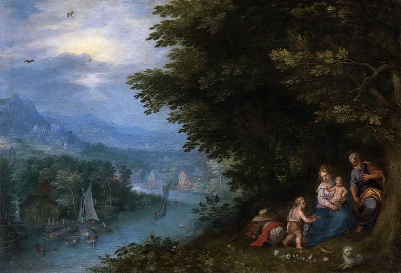 Речной пейзаж с отдыхом на пути в Египет (фигуры Ханса Роттенхаммера). Ян Брейгель Старший