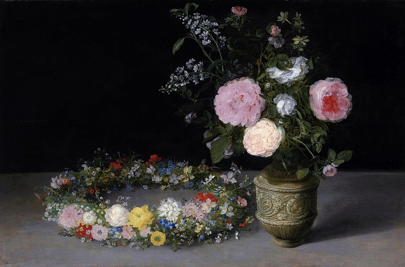 Still life of flowers in a vase and a wreath. Jan Brueghel The Elder