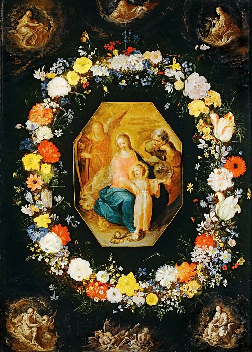 Holy Family in a flower garland. Jan Brueghel The Elder