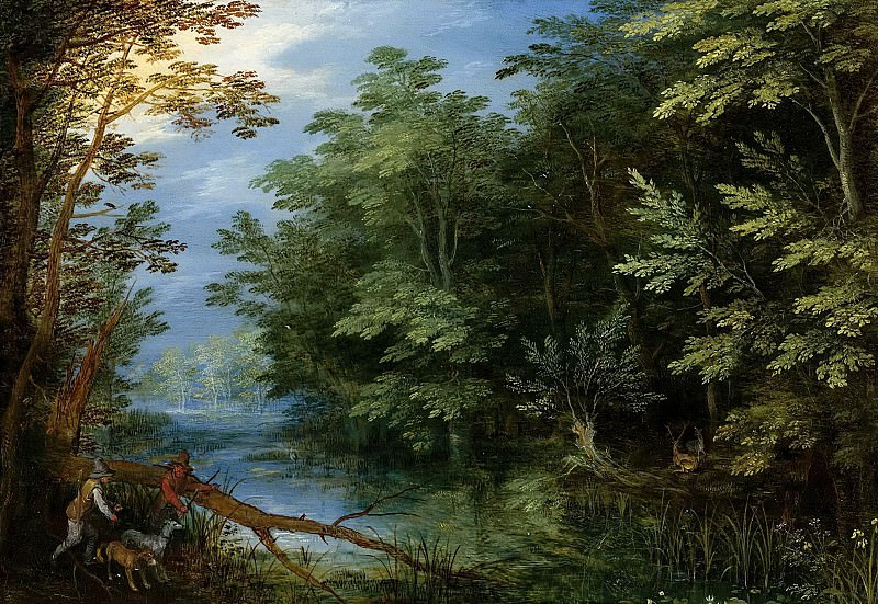 A WOODED LANDSCAPE WITH SPORTSMEN. Jan Brueghel The Elder
