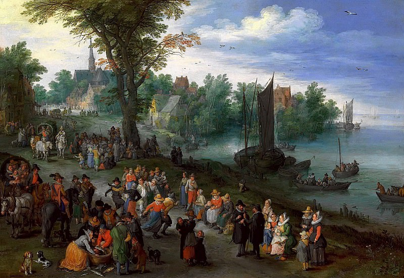 Village Landscape with Self-portrait. Jan Brueghel The Elder