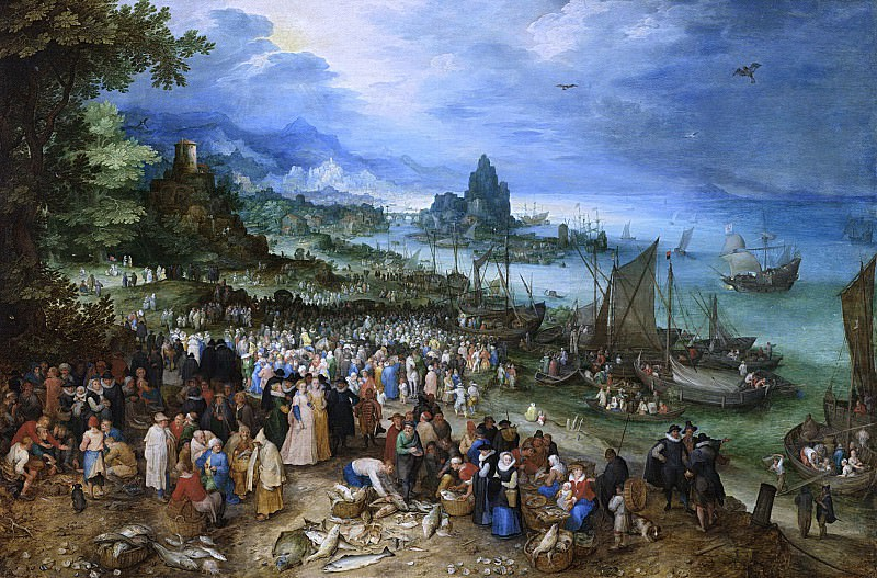 Seaport with Christs Sermon. Jan Brueghel The Elder