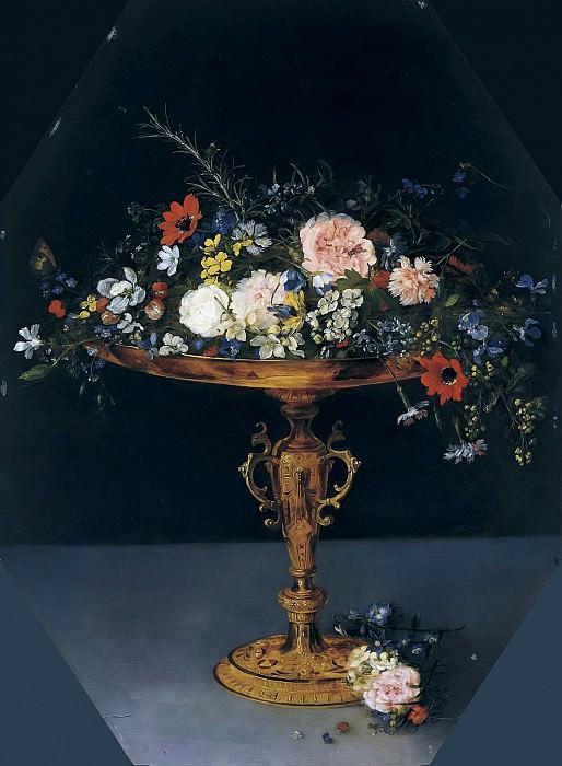 STILL LIFE WITH FLOWERS IN A GILT TAZZA. Jan Brueghel The Elder