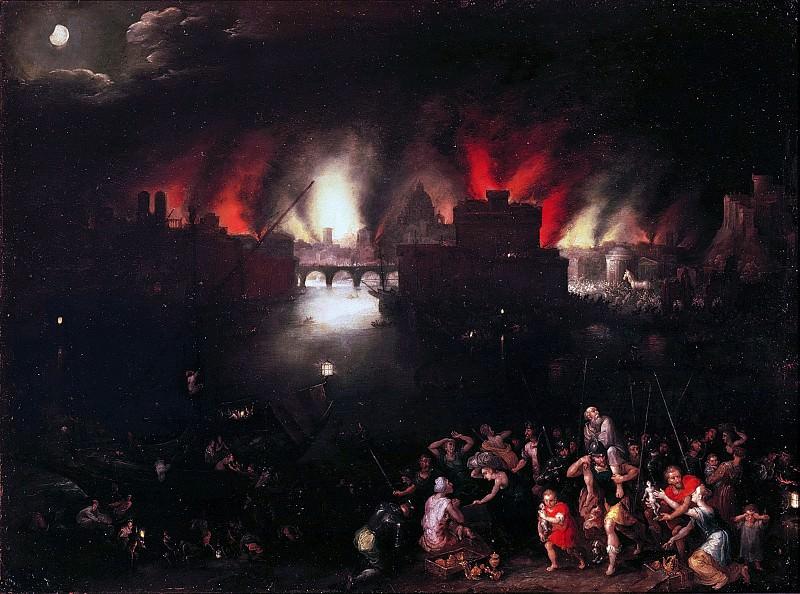 The burning Troy. Jan Brueghel The Elder