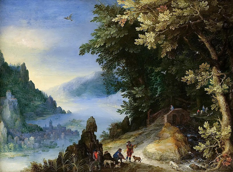 A Mountainous River Landscape With Travellers. Jan Brueghel The Elder