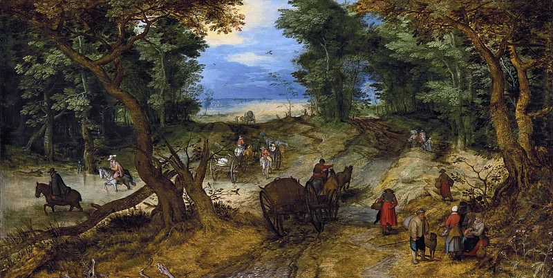 Forest Road with Travellers. Jan Brueghel The Elder