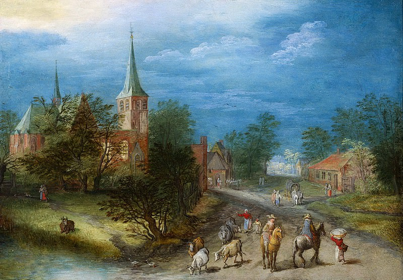 Country landscape with travellers. Jan Brueghel The Elder