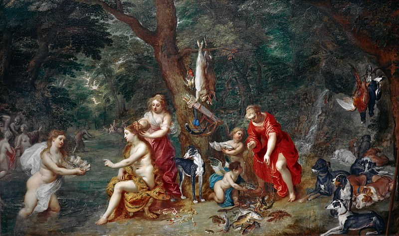 Diana and her Nymphs after the Hunt. Jan Brueghel The Elder
