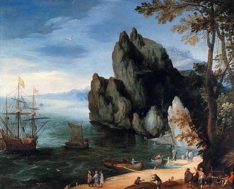 Bay with warship. Jan Brueghel The Elder