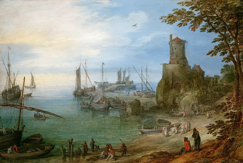 A harbour scene with watchtower and fishermen unloading their catch. Jan Brueghel The Elder