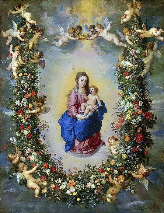The Virgin And Child Encircled By A Garland Of Flowers Held Aloft By Cherubs. Jan Brueghel The Elder