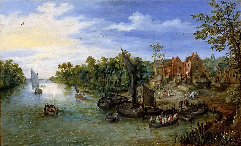 Landscape with the village by the river. Jan Brueghel The Elder