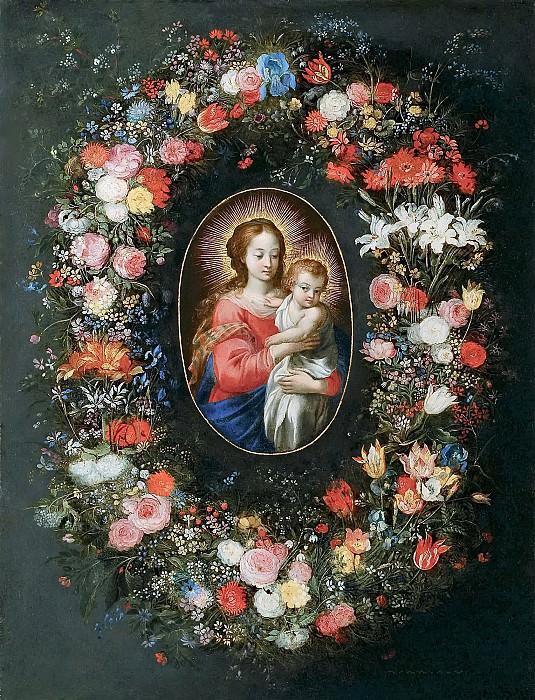 Virgin and Child in a flower garland. Jan Brueghel The Elder
