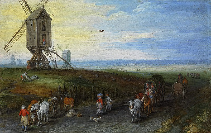 Windmills on a Broad Plain. Jan Brueghel The Elder