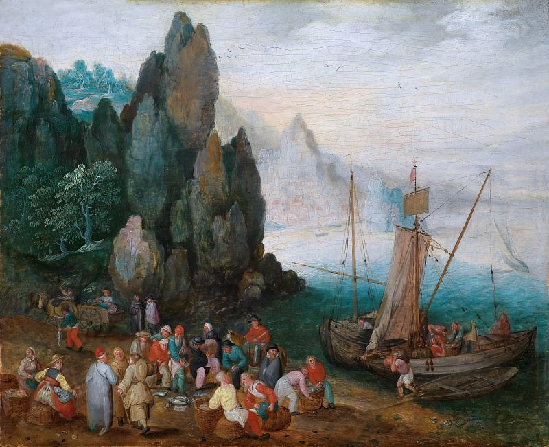 A coastal landscape with fish market. Jan Brueghel The Elder